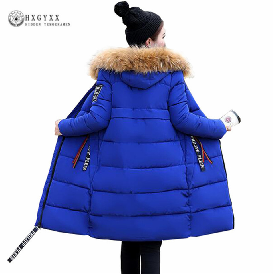 Fur Fashion Hooded Military Parka Winter Jacket Women 2017 Warm Long Quilted Coat Plus Size 5XL 6XL Down Cotton Outwear Okb135 women winter coat 2017 fashion hooded fur collar hoody long parka mujer winter warm down cotton wadded coat quilted jackets