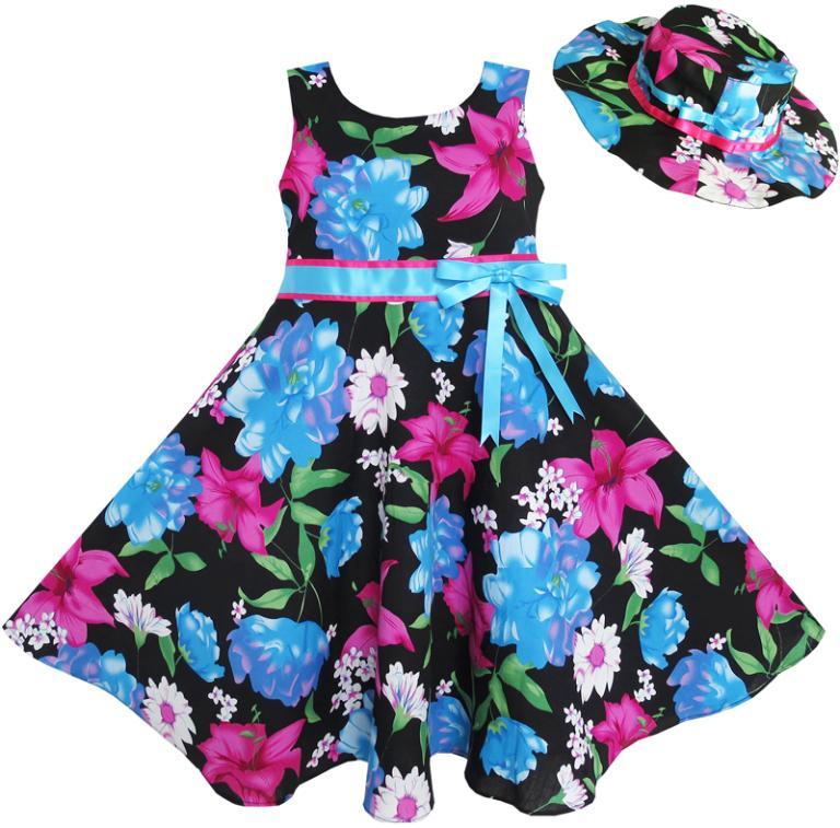Sunny Fashion 2 Pecs Girls Dress Hat Blue Flower Summer Beach Party Dancing Kids Cotton 2017 Summer Princess Wedding Size 4-12