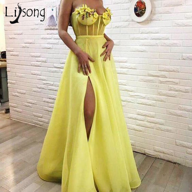 Chic Sexy Yellow A line Prom Dresses 2019 With Hide Split Appliques Flower Long Prom Gowns