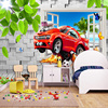Pastoral Style Children Room Bedroom Wall Decoration Mural Wallpaper 3D Stereoscopic Window Cartoon Car Broken Wall Large Murals 2