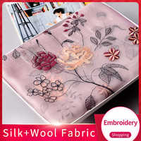 Women Silk Wool Blending Scarf 2019 Chiffon Shawls and Wraps for Ladies Silk +Wool Fabric Embroidery Pashmina Vintage Scarves