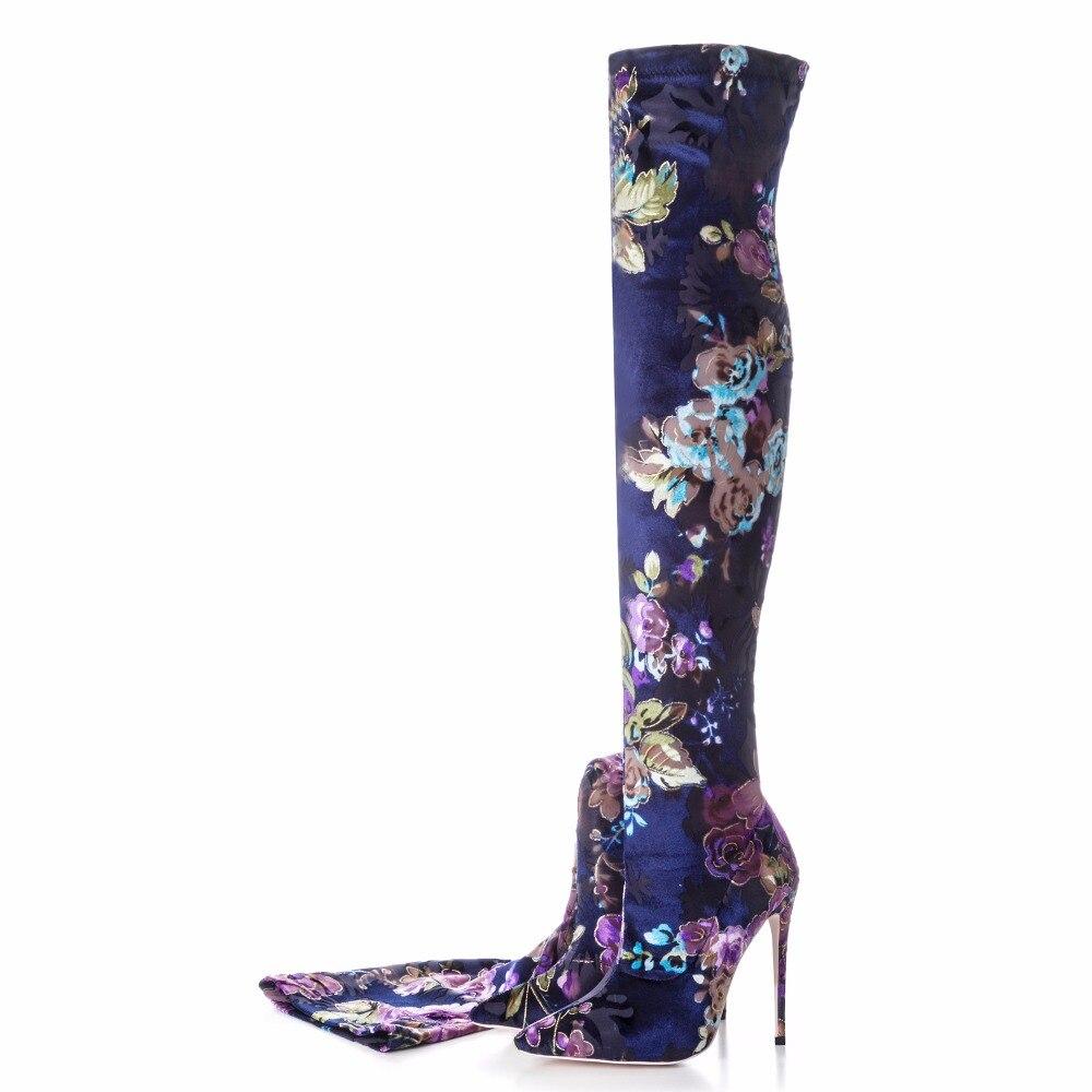 أردن Furtado 2018 الربيع الخريف عالية الكعب 12 سنتيمتر الأزياء الزهور الأحذية للمرأة أنحاء الركبة تمتد الأحذية الخناجر كبير حجم-في أحذية فوق الركبة من أحذية على  مجموعة 3