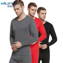 ALANSHOW Cotton Winter Round Neck Warm Long Johns Set for Men Ultra-Soft Solid Color Thin Thermal Underwear Men`s Pajamas
