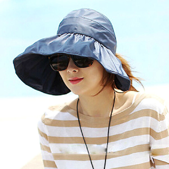 South Korea Imported Foldable Uv Large Brim Empty Top Hat Resort Beach Sun Protection