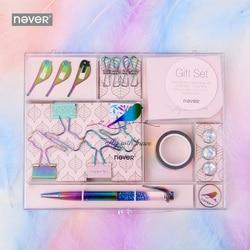 Serie Never Fly Bird juegos de artículos de papelería Clips de papel clip de carpeta Sticky Note Pen caja de regalo paquete para profesores suministros escolares
