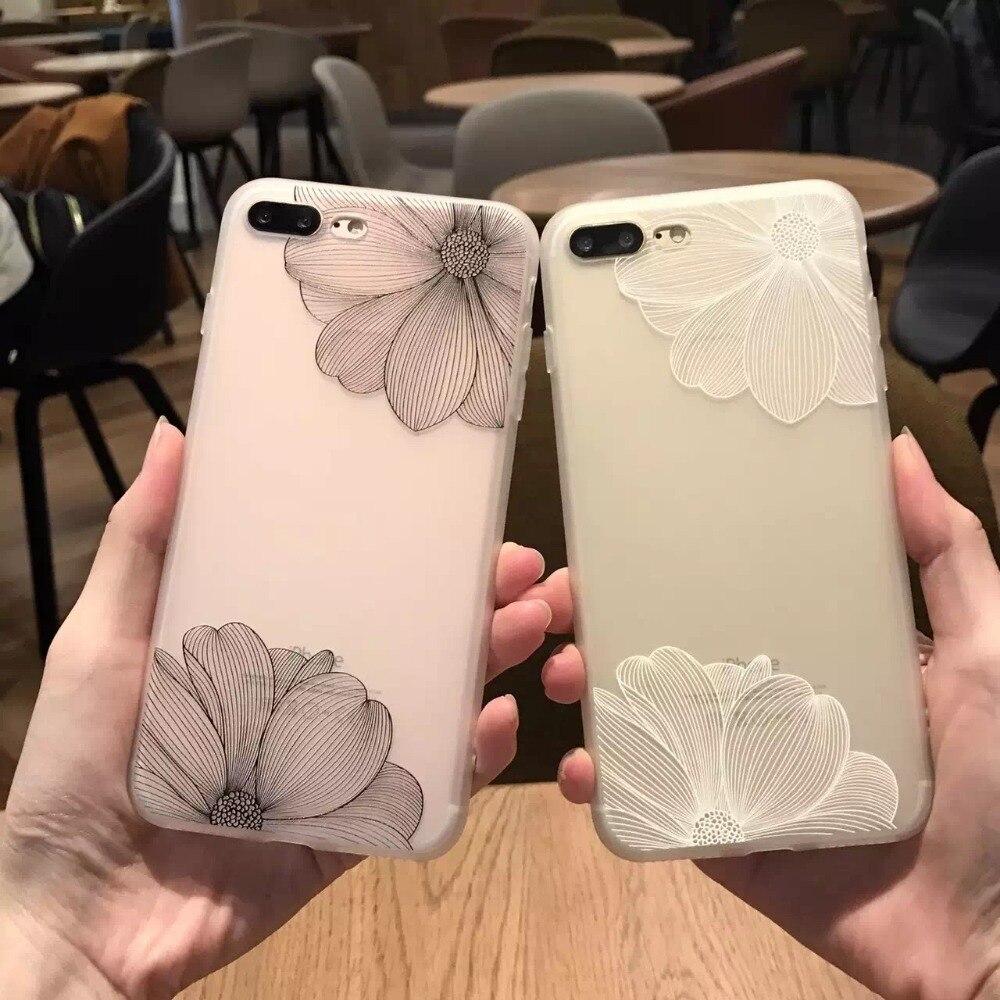 Телефон Случаях Для Apple iphone 6 6 s 6 plus Цветы Дейзи Pattern мягкие TPU Case Cover Для iphone 7 7 plus Мандала Матирование Леди крышка