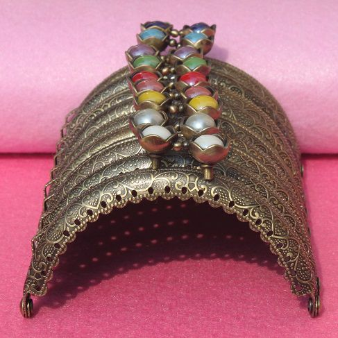 Wholesale 8 5 CM Bronze Metal Coining Pattern Coin Purse Frame 10Color Lotus Head Bag Kiss