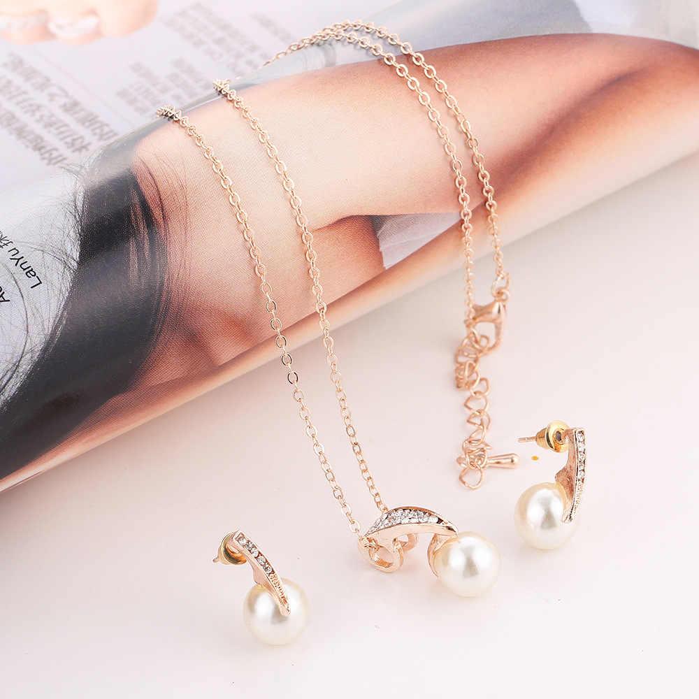 Halskette ohrringe set frauen gold farbe imitation perle strass kristall anhänger choker verkaufenfrauen-brauthochzeits-kristallschmucksache-gesetztes