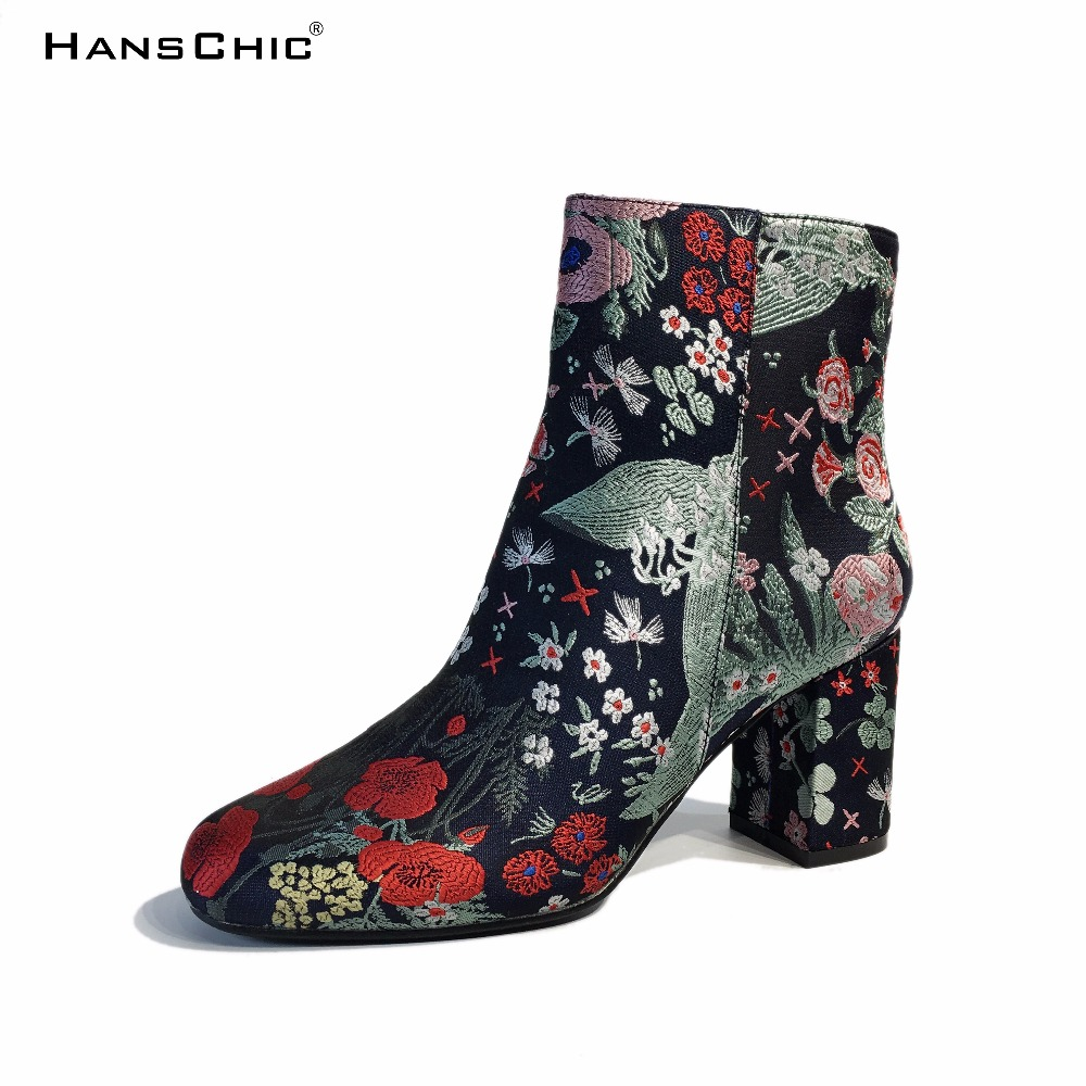 HANSCHIC 2017 New Arrival Retro Vintage Chinese Embroidery Floral RetroLadies Women High Heels Boots Shoes for Female 1430-2 vintage embroidery women flats chinese floral canvas embroidered shoes national old beijing cloth single dance soft flats