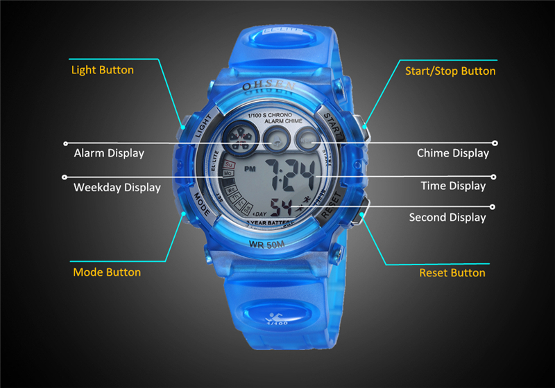 Fashion OHSEN Brand Sports Watches Children LED Digital Watch Kids Multifunctional Wristwatches Alarm Stopwatch Student Clock (35)