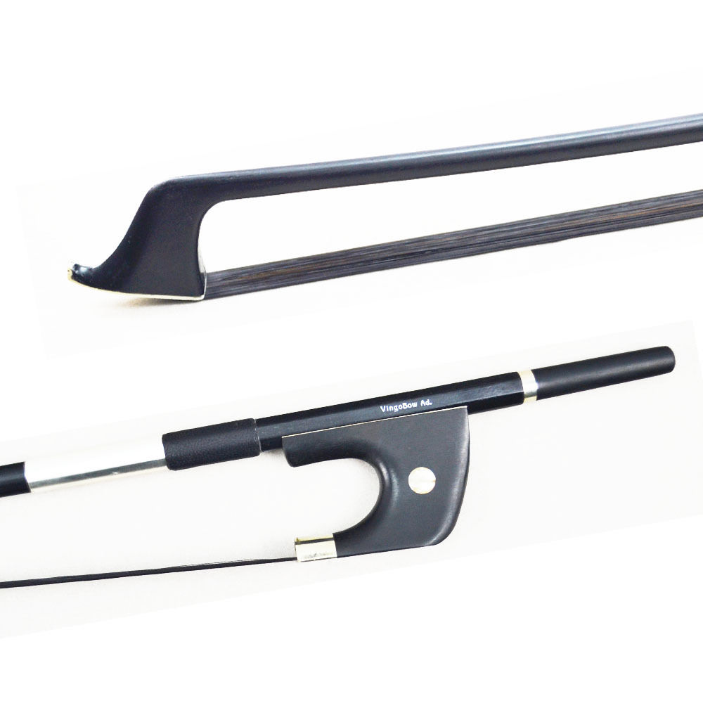 ФОТО 4/4 Size Advanced German Model Carbon Fiber Material Double Bass Bow! Ebony Frog With Nickel Silver Mounted, Sweet Warm Tone!
