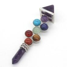 Kraft-korálky Stříbrná pyramida Hexagon 7 Kamenné korálky Energie žezlo Přírodní ametysty Chakra Přívěsek módní šperky