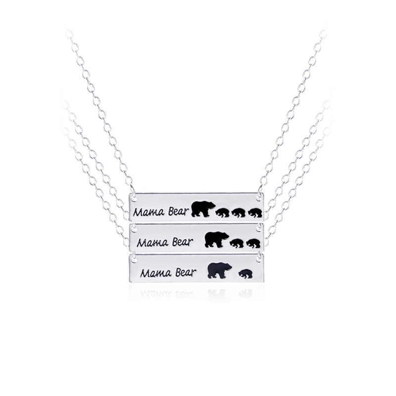 Nouveau collier de bijoux femme en alliage de charme or/argent à la mode maman ours et enfant ours pendentif fête des mères cadeau maman pour les femmes