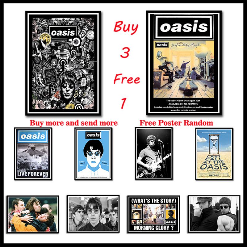 Oasis rock music Coated Paper posters Bar Cafe Living Room Dining room Decorative Paintings Frameless