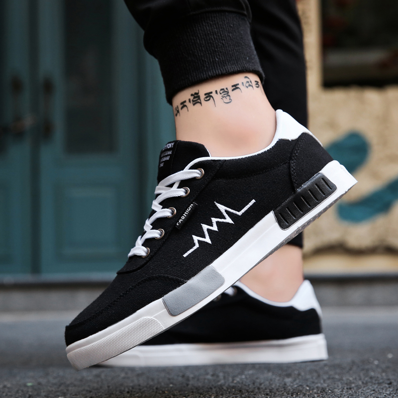 DUDELI New 2018 Spring Summer Canvas Shoes Men Sneakers Low top Black Shoes Men