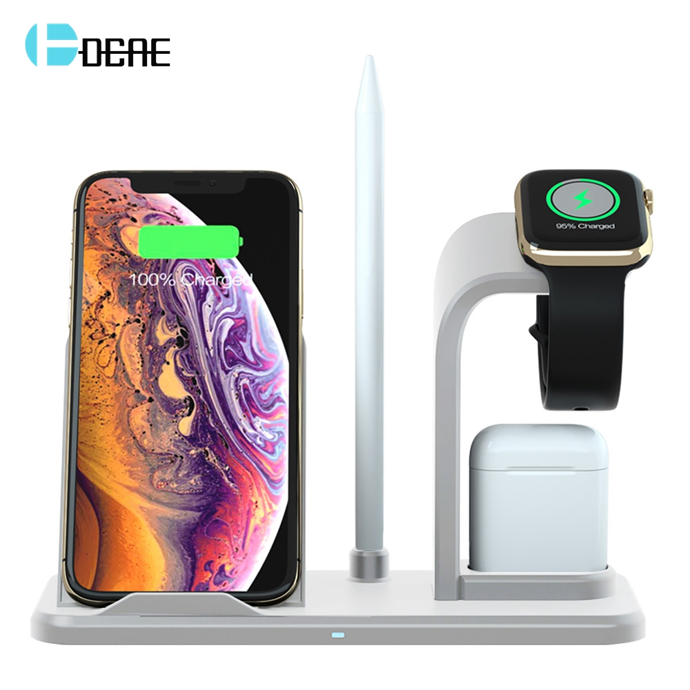 DCAE QI Wireless Charger Stand For iPhone 8 Plus X XS Max XR 10W Fast Charging Dock Station 4 In 1 For AirPods Apple Watch 2 3 4 in Wireless Chargers from Cellphones Telecommunications