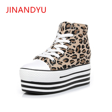 High Platform Hidden Heel Sneaker Fashion Wedge Sneakers Top Quality Sexy Leopard Canvas Chunky Trainers Women Sapatilhas Mulher