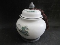 TNUKK Exquisite Chinese classical handmade arenaceous landscape tea caddy / pot jar