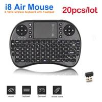 Inglés + Touchpad Mini teclado Inalámbrico 2.4G Ratón Combo Teclado para HDPC Win7 para Andriod TV Box PC Portátil Tablet DHL 20 unids/lote