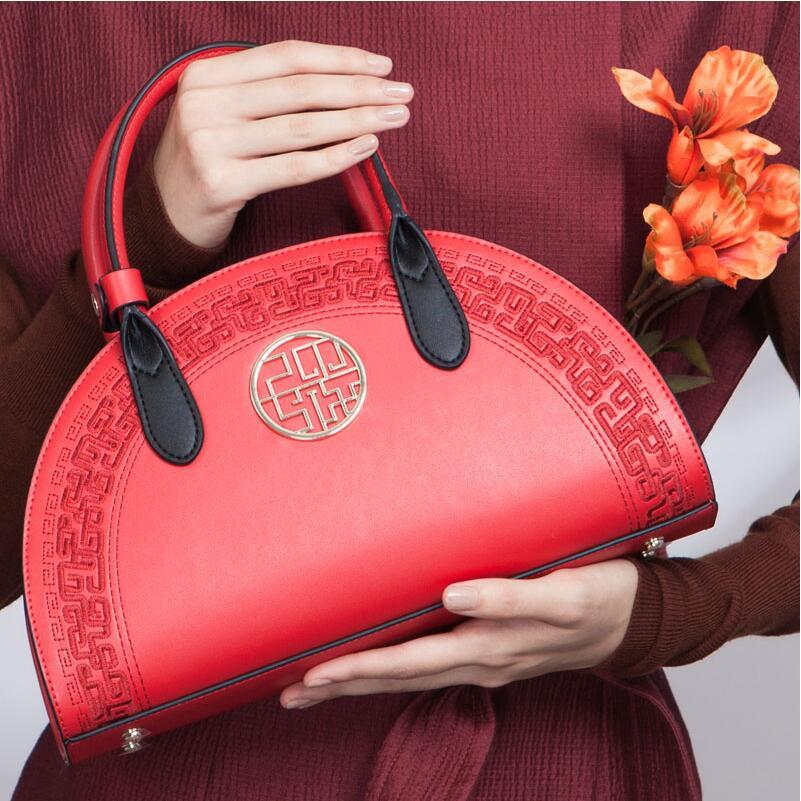 De Femmes Mode Boulettes Cuir Qualité Sacs Main Marques En Ethniques Red Chinois Sac À Broderie Rouge Épaule wx4Tf