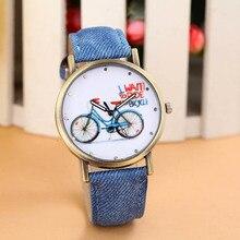 Мужские Женские кварцевые часы 1 предмет модные Велосипедный Спорт Узор аналоговые наручные часы Vogue джинсовый ремень Часы для пар оптовая 40m20