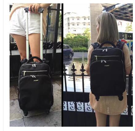 여성 트롤리 배낭 20 인치 여행 트롤리 수하물 배낭 가방 여성용 수하물 가방 바퀴 달린 배낭 운반 가방-에서여행 가방부터 수화물 & 가방 의  그룹 1