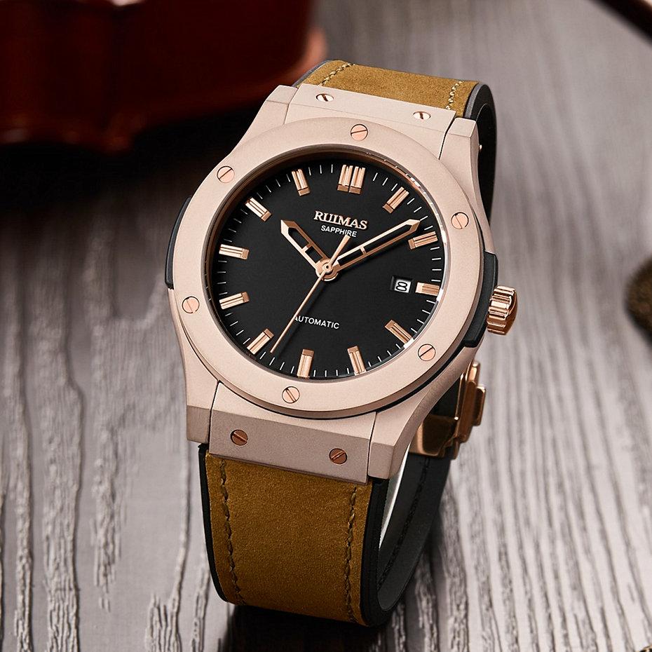 Hommes mode cuir automatique montre Reloj Hombre 2018 affaires mécaniques montres mâle horloge RUIMAS montres miborough 8215 - 3