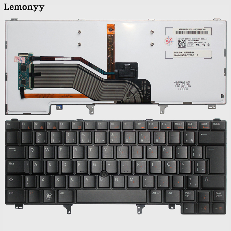Brésil Clavier d'ordinateur portable POUR DELL Latitude E6420 E6320 E6430 E5420 E5430 E5520 E6430s noir BR avec Rétro-Éclairage clavier