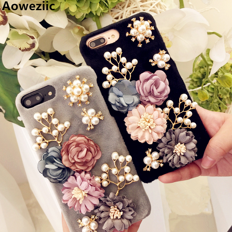 Aoweziic New three-dimensional flower pearl rabbit For iPhone7 phone cases X 8 plus protective sleeve 6s flannel hard shell tide