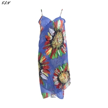 купить Women's Strap Beach Dress Sexy Fashion V-neck Sleeveless Floral Print Open-Back Dress дешево