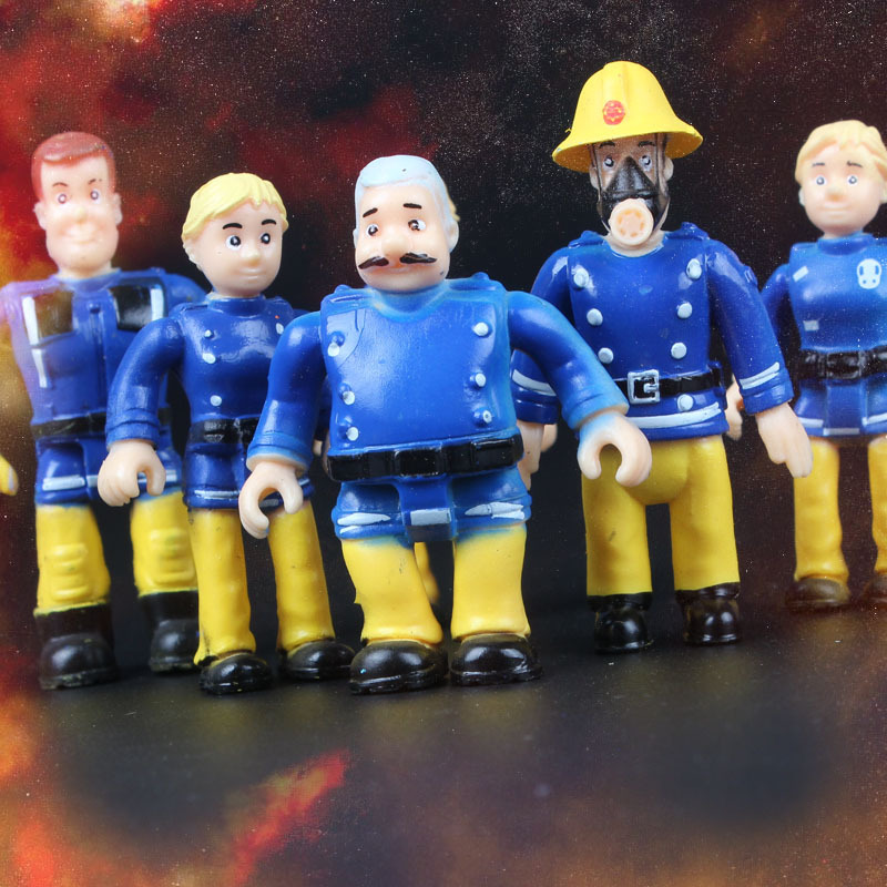 10PCS Lot Fireman Sam Action Figure Toys Cartoon Fire Man