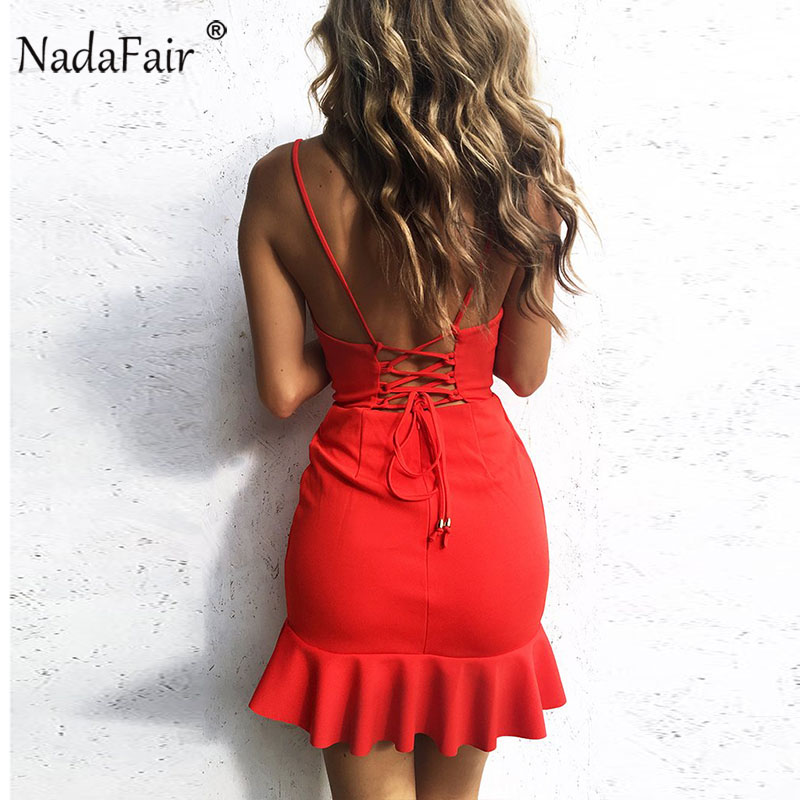 Nadafair Red Black Backless V Neck Lace-up Sexy Bodycon Club Party Dress 2018 New Women Summer Casual Strap Dress