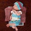 Trajes de ganchillo recién nacido accesorios de fotografía gorritas botón + pantalones azul rojo foto disparar bebé ducha regalo de disfraces infantiles