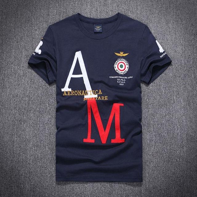 Verão marca aeronautica militare camisas dos homens t de manga curta, moda camisetas t-shirt dos homens da marca bordado clothing