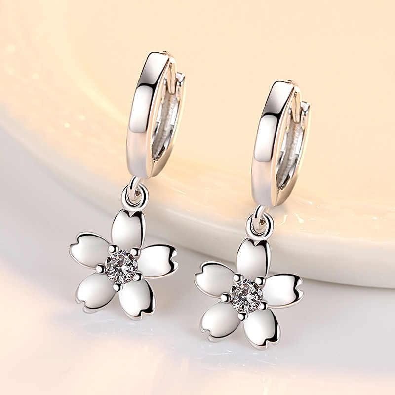 Real Pure 925 Sterling Silver Floral Earrings Hoop Hanging Pink Crystal Cubic Zircon CZ Huggie Earings Girls Jewerly SE053