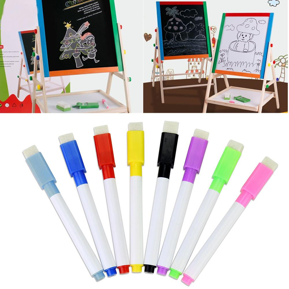 8PCS Color Whiteboard Pen With Tape Brush 8 Color Whiteboard Pen Set Erasable Pro-environment Water Marker Office Supplies