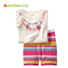 Actionclub 2016 Summer Kids Pajamas Suit Baby Boys Girls Clothing Set Children Sleepwear Nightgown Short Sleeve Shirt Pants Set