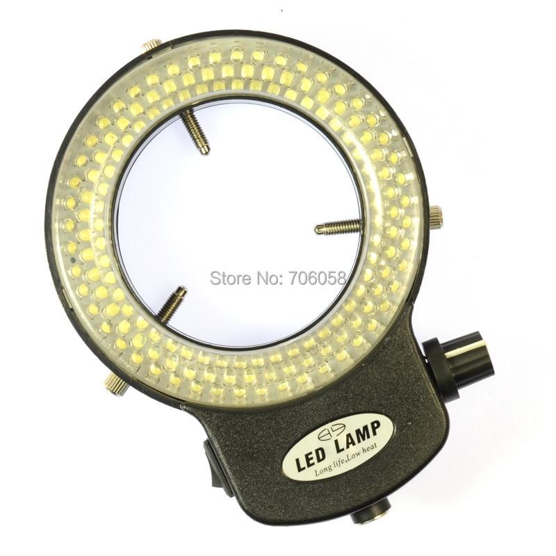 Lampada illuminante a LED ad anello regolabile 6500K144 per microscopio stereo industriale Lente d'ingrandimento per fotocamere digitali con alimentatore CA.