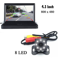 Auto Assistance Parking 8 LED Night Vision Reverse CCD Car Back Camera 4.3 inch Color LCD DISPLAY LCD Video Folding Monitor