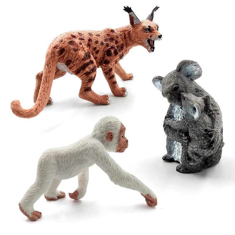 Simulação Ovelhas Veados Sika cão husky Crocodilo Lynx Gorila Chimpanzé Rinoceronte Koala animal estatueta modelo toy figuras de jardim