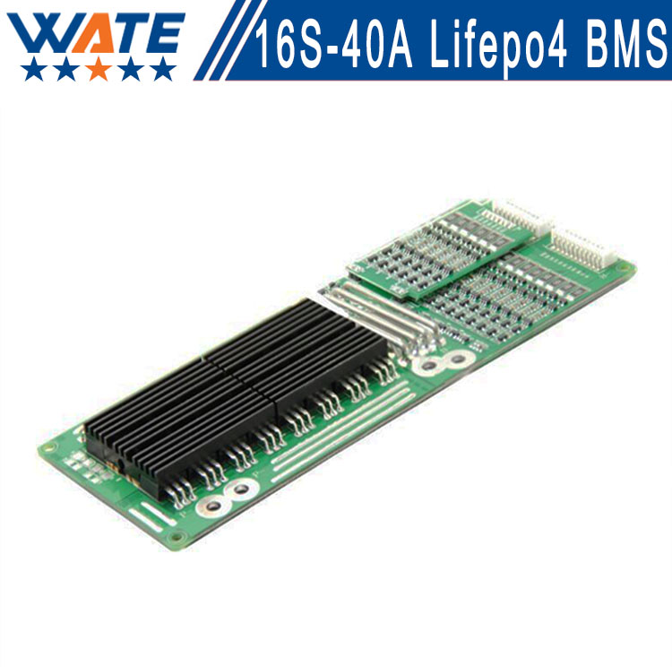 Brand bms 16s 48v 40A lifepo4 battery pack 16s bms cell protection board smart bms Balance function for 16s hot sale battery bms protection pcb board for 3 4 pack 18650 li ion lithium battery cell for rc parts