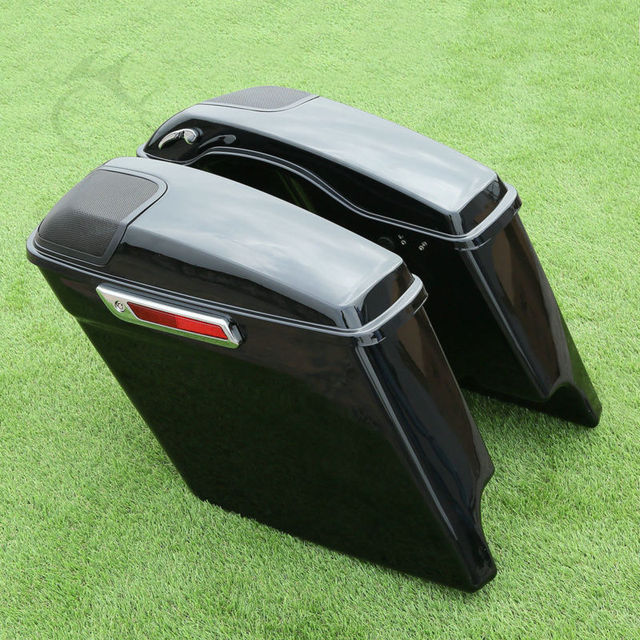 Extended Stretched Saddlebag w/ Speaker Grill For Harley Touring 14-18 FLHT FLHX