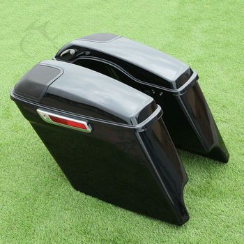 Motorcycle Extended Stretched Saddlebag w/ Speaker Grill For Harley Touring FLHT FLHX Street Electra Road Glide 2014-2020