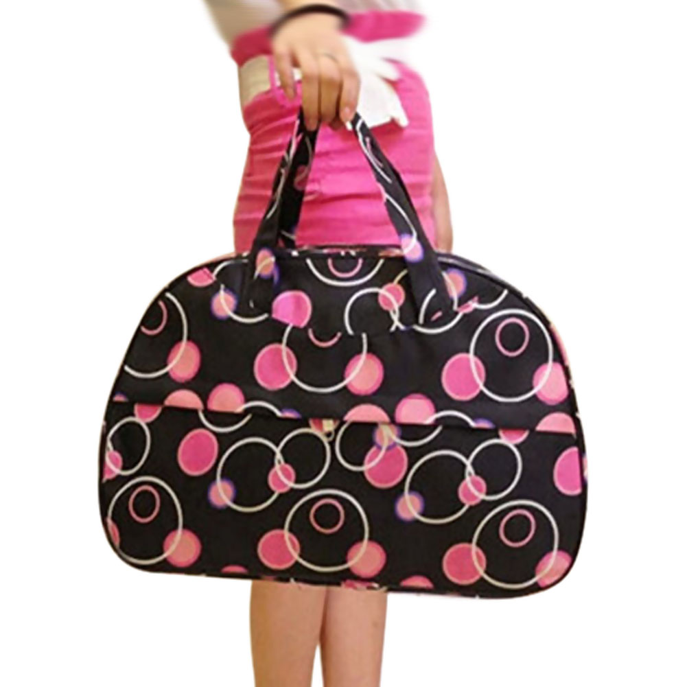 Fashion Waterproof Oxford Women bag Rose Red Circles Pattern with Black Bottom Travel Bag Large Hand Canvas Luggage Bags