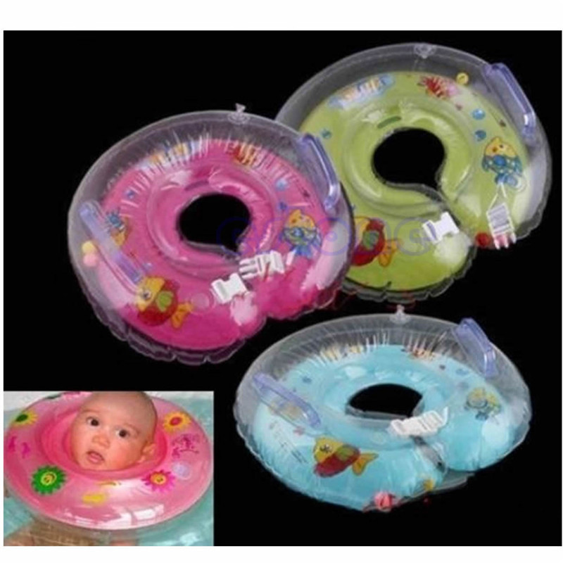 2colors Baby Infant Bath Swimming Pools Swim Aids Neck Float Ring Safety Inflatable blue/pink