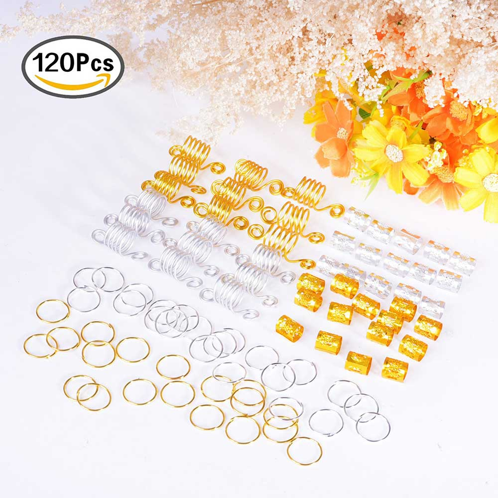 120pcs Popular Sliver Hair Beads For Black Women Micro Hair Ring Braid Jewelry Spiral Metal Microlink Tube Charms