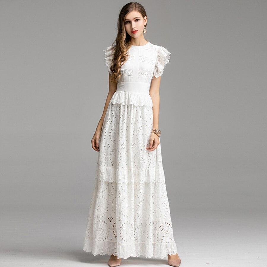VERDEJULIAY Hohe Qualität Frauen Kleid 2019 Luxus Spitze Patchwork Damen Rüschen Weiß/Grün Stickerei aushöhlen Midi Lange Kleid-in Kleider aus Damenbekleidung bei  Gruppe 1