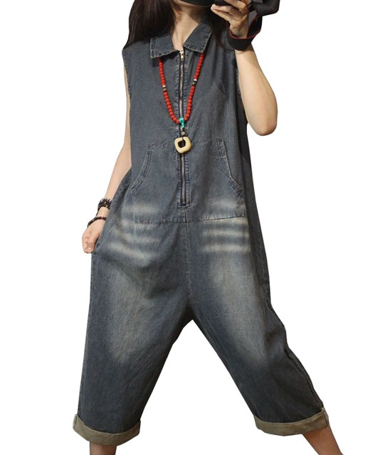 2bcd4b9ce89e YESNO PCD Women Casual Loose Denim Overalls Jumpsuits 100% Cotton Hoodie  Zipper-up Distressed Sleeveless Low Crotch Pockets