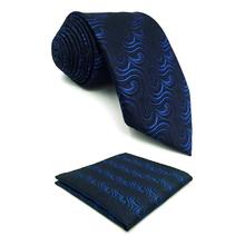 F14 Blue Navy Mens Tie Set Geometric Necktie Pocket Square Classic Business