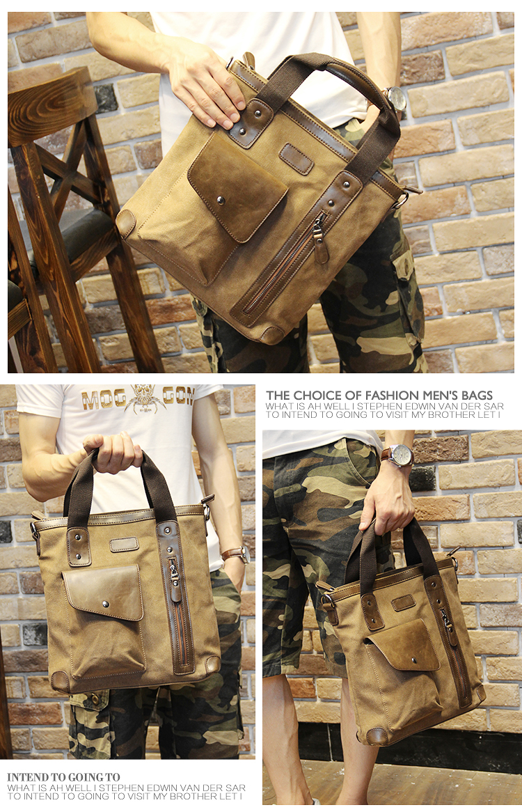 Men's bags Brand Vintage Men's Messenger Bags Canvas Shoulder HandBag Fashion Men Business Crossbody Bag Casual Travel Handbag 22
